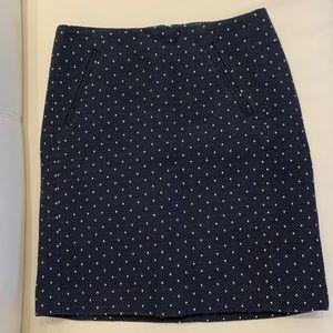 Loft navy polka dot pencil skirt
